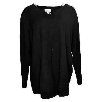 Belle by Kim Gravel Women's Sweater Plus Feather Knit V-Neck Black A367287