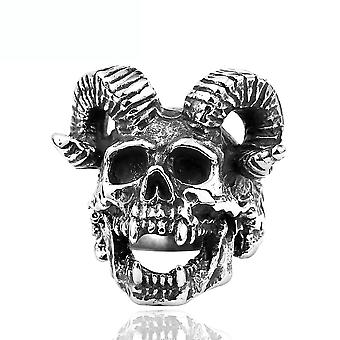 Punk Skull With Horn Ring Stainless Steel Man Ring For Cosplay