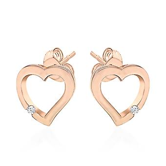 Elanza Cubic Zirconia Heart Earrings Rose Gold Plated Silver for Girlfriend/Wife