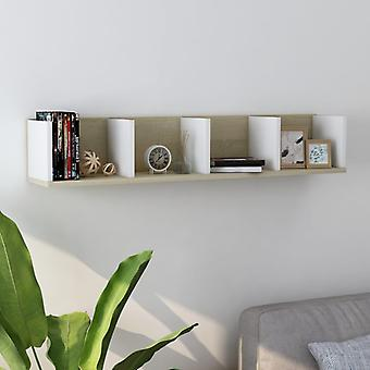vidaXL CD جدار الجرف الأبيض سونوما البلوط 100 × 18 × 18 سم تشيببورد