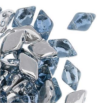 Czech Glass GemDuo, 2-Hole Diamond Shaped Beads 8x5mm, 8 Grams, Backlit Periwinkle