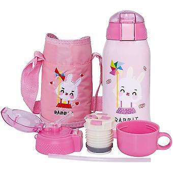 HanFei Vakuum Thermosflasche für Kinder Edelstahl Trinkflasche Mit Strohhalm, Doppelwandig