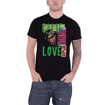 Tupac T Shirt 2PAC California Love distressed retro logo new Official Mens Black