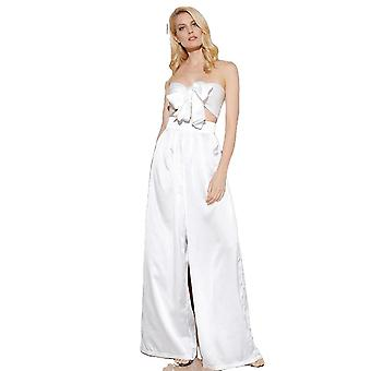 Sexy White High Waist Bell Two-Pieces Set For Ladies