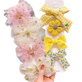 8pcs Hairpin Bows Hair Clips Head Accessories Set For Baby Girls Gift