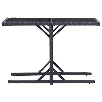 vidaXL Puutarhapöytä Musta 110×53×72 cm lasi ja poly rottinki