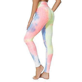 L růžové vysoké pas jógové kalhoty cvičení sportovní bříško ovládání legíny 3 cesta stretch máslové měkké x2065