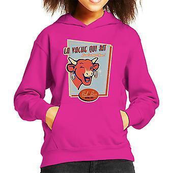 Den grinende ko til osteelskere Kid's hætteklædte sweatshirt