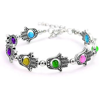 Hand Of Fatima For Protection And Luck Beaded Multicolored Friendship Bracelet(COLOR1)