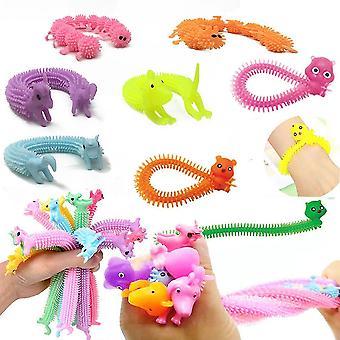 24pcs Caterpillar Unicorn Stretchy String Tpr Fidget Toy Stress Reliefr