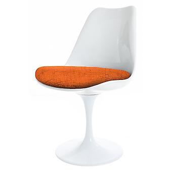 Fusion Living kiiltävä valkoinen ja oranssi kuvioitu kääntyvä sivutuoli