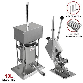 Sausage Stuffer Electric 10L & Clipper Butchers Professional Clipping Filler