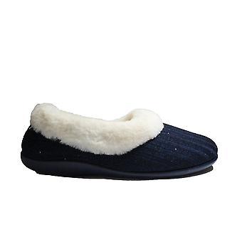 Fleet & Foster Hilda Navy Textil/Fuskpäls Kvinnor Halka på Full Shoe Tofflor
