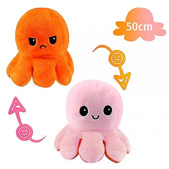 50cm Giant Reversible Octopus Stuffed Animal Reversible Happy Sad Octopus Plush Toy Show Your Mood Without Saying A Word! Pink And Orange