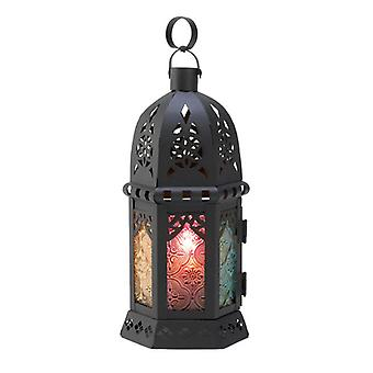 Gallery of Light Moroccan Candle Lantern with Multi-Color Glass Panels - 10.5 inches, Pack of 1