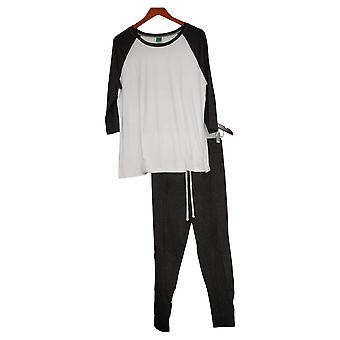 Honeydew Women's 2 Piece Set Tie Waist Pant, 3/4 Sleeve Gray Pajama