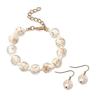 Beaded, Drop Dangle Jewellery Set for Womens 7.5 '' White Murano Glass 0.002ct