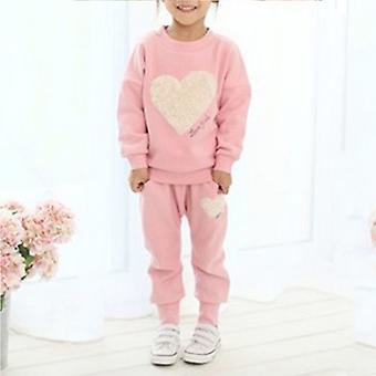 Kids Girl Heart Pulóver Top Pants Set Ruhák Ruhák Ruhák Melegítő