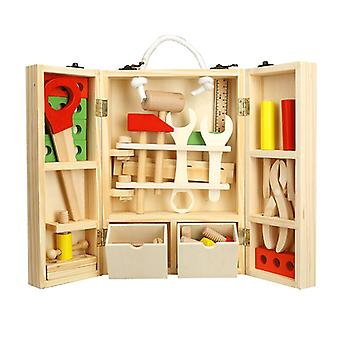 Children's Wood Repair Toolbox Boy Simulation Toy Set Baby Learning Game Carpenter Ensemble d'outils