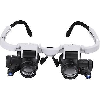 Head Mount 2led Lights Magnifer, Hands Free, Dual-lens Jeweler Repair