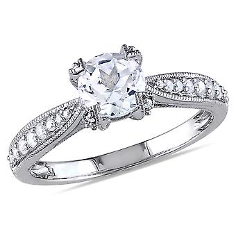 Created White Sapphire 1.00 Carat (ctw) Engagement Ring with Diamonds in Sterling Silver