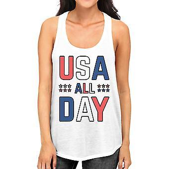 USA alle Tag Frauen weiße Baumwolle Tank-Top nette 4. Juli Design