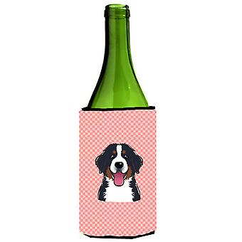 Checkerboard Pink Bernese Mountain Dog Wine Bottle Beverage Insulator Hugger