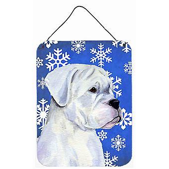 Boxer inverno dei fiocchi di neve vacanze alluminio metallo parete o porta appeso stampe