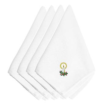 Christmas Candle with Holly Embroidered Napkins Set of 4