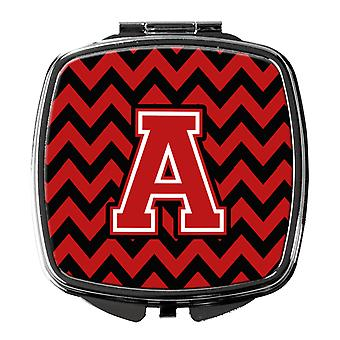 Carolines Treasures  CJ1047-ASCM Letter A Chevron Black and Red   Compact Mirror