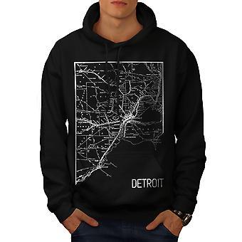 Ville d'Amérique Detroit hommes BlackHoodie   Wellcoda