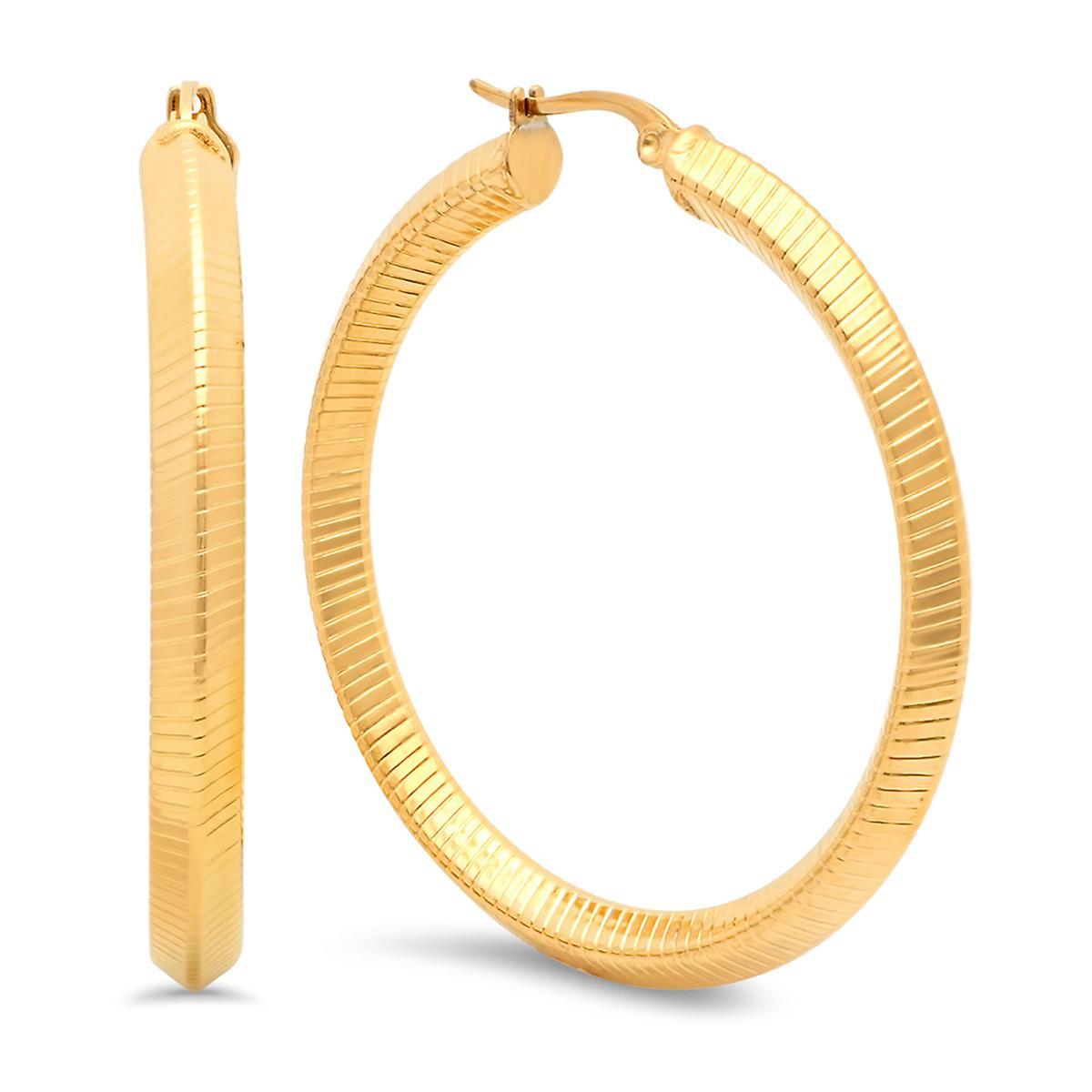 Ladies 18K Gold Plated Stainless Steel Striped Hoop Earrings