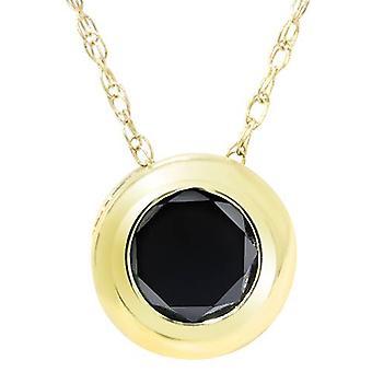 1 / 2ct Black Diamond 14K keltainen kulta pasianssi riipus