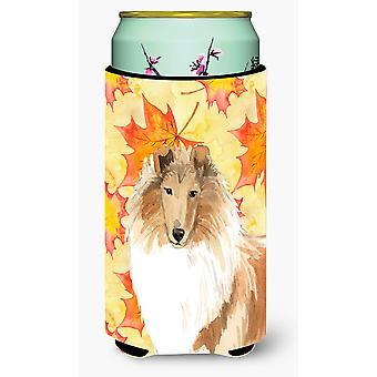 Fall Leaves Rough Collie Tall Boy Beverage Insulator Hugger
