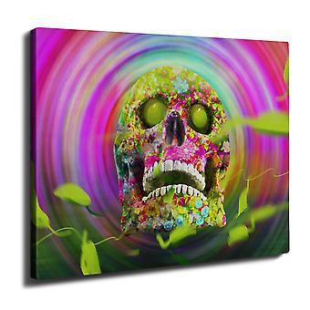 Psychedelic Skull Wall Art Canvas 40cm x 30cm | Wellcoda