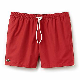Lacoste-Baumwolle Taft Swim Shorts, intensives Rot, X groß