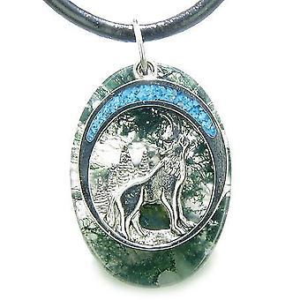 Hylende ulv måne Amulet held og lykke beføjelser grøn mos agat ædelsten vedhæng halskæde
