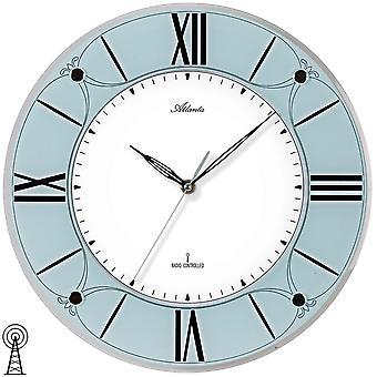 Atlanta 4365 mur radio-réveil radiocommandé murale horloge analogique bleu bleu clair avec verre
