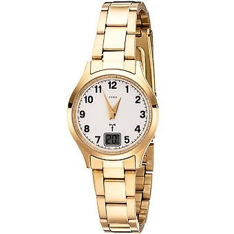 JOBO ladies wristwatch radio radio clock stainless steel gold plated women's watch with date