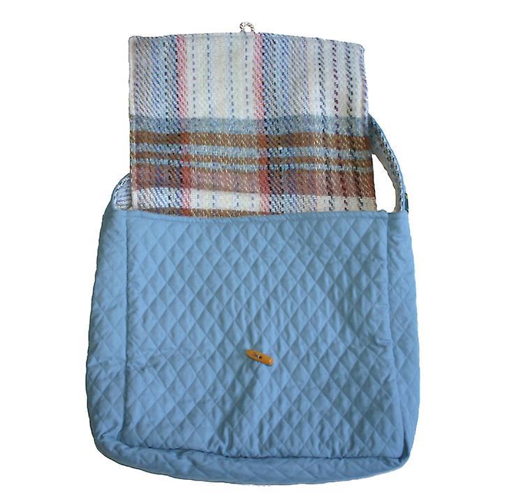 Blaue Stepp & Wolle Zufalls Recycled Umhängetasche