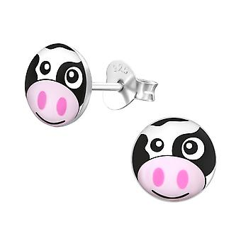 Cow - 925 Sterling Silver Colourful Ear Studs - W19713x