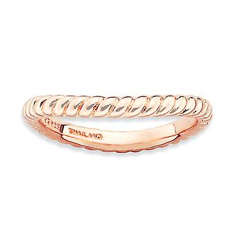 2.25mm 925 Sterling Silver Textured Patterned Stackable Expressions Polished Pink plate Wave Ring Jewelry Gifts for Wome