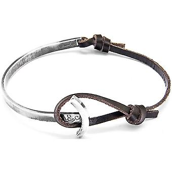 Anchor and Crew Galleon Silver and Leather Bracelet - Dark Brown