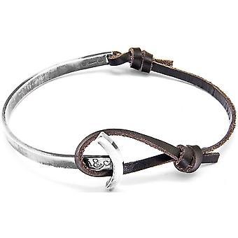 Âncora e tripulação Galeão prata e pulseira de couro - marrom escuro