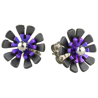 Ti2 Titanium Black Back Ten Petal Flower Stud Earrings - Imperial Purple