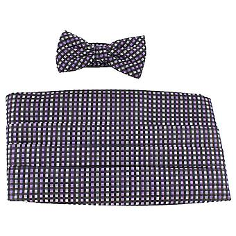 Ensemble de Knightsbridge Neckwear noeud papillon et drapée - Black/Purple/Silver