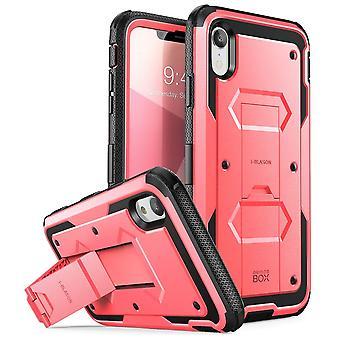 iPhone XR asia [Armorbox] [rakennettu Screen Protector] [Heavy Duty suojan] [Kickstand] osalta (2018-versio) (pinkki)