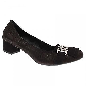 Pedro Miralles Metallic Detail Black Low Court Shoes