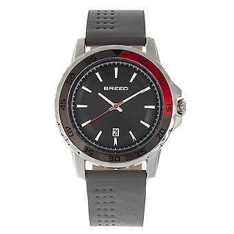 Revolución de raza banda de cuero reloj w/fecha - gris