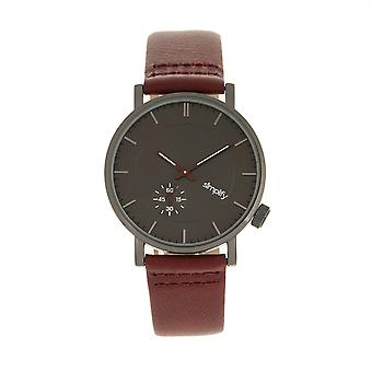 Simplify The 3600 Leather-Band Watch - Charcoal/Maroon